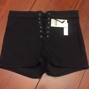 Topshop black Joni shorts